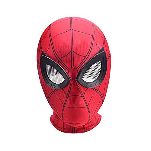 MYYLY Avengers 3D Spiderman Copricapo Cosplay Bambini Spider Man Costumi Lycra Viso Cappuccio Lenti da Supereroe Regalo Bambini Halloween Tuta Maschera,Red-Kids~One Size