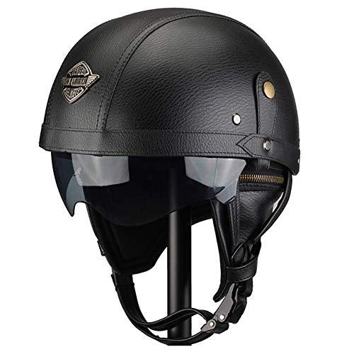FLHWAN Casco Moto Harley retr/ò Mezzo Casco Aperto Certificazione DOT Imitazione Fibra di Carbonio Shell Incrociatore Chopper Jet Pilot Bicicletta Skateboard Casco Aperto Mezzo Casco Moto
