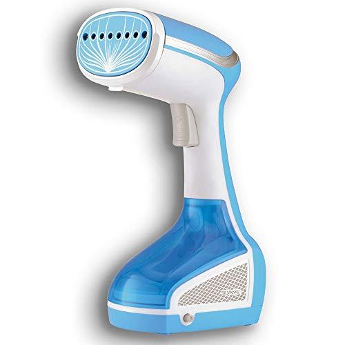 SILVANO Plancha Vertical Cepillo de Vapor 1000 W. Elimina Arrugas y olores y desinfecta. Ideal para Viajar. Depósito de Agua extraíble y gatillo de pulsador Suave. (Blanca&Azul)