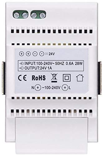 Vimar 40103 Alimentatore per Videocitofono con Uscita 24 V, Alimentazione 100-240 V~ 50/60 Hz, Installazione su Guida DIN (60715 Th35), 3 Moduli, Bianco