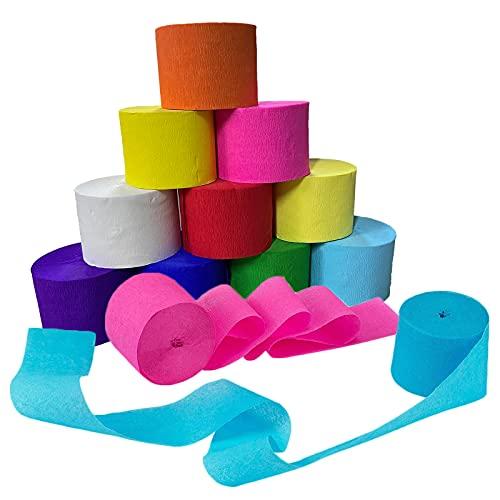 CYH 12 Rollos Papel Crepe de 12 Colores, 25mx4,5cm Crepé Bandas Papel Pinocho Colores para Cumpleaños Fondos Festivales Decor de Fiestas y Manualidades