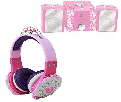 DURAGADGET Casque princesse rose, violet et blanc enfant pour Lexibook - MH100BB - Jeu Électronique - Mini Chaine Hifi Barbie