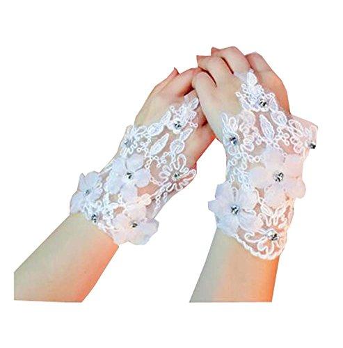 Gants sans doigts en dentelle élégante pour les accessoires de mariage - F