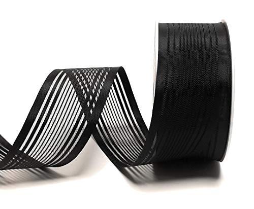 Trauerband 25m x 40mm SCHWARZ gestreift DEKOBAND Schleifenband Trauerschleife [6565]