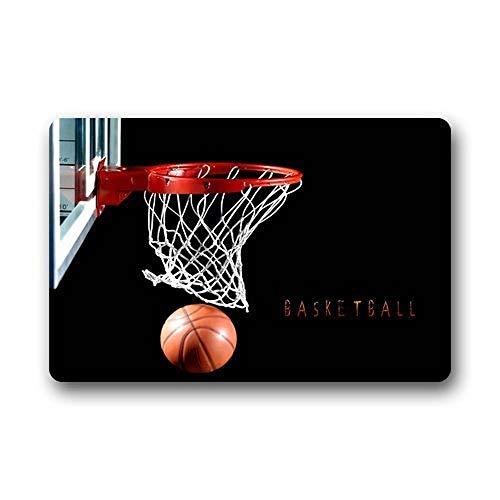 ZMvise - Felpudo de franela, diseño de aro de baloncesto, para interiores y exteriores, cuarto de baño, cocina, alfombra de suelo de 15.7 x 60 cm