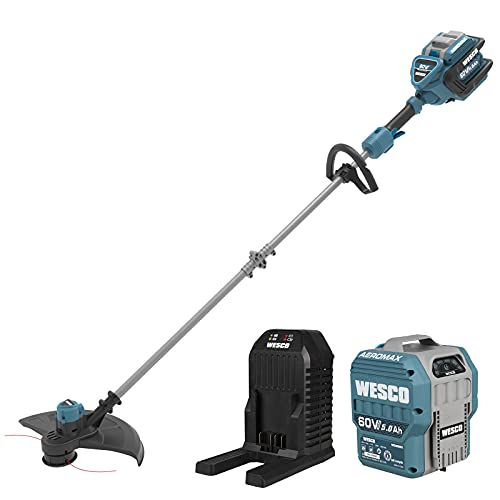 Cordless String Trimmer, WESCO 60V Brushless Grass Trimmer, 2.5Ah Battery and Charger Included, Two-Speed, 16-Inch Cutting Path, Dual Line Weed Wacker/WS8085U