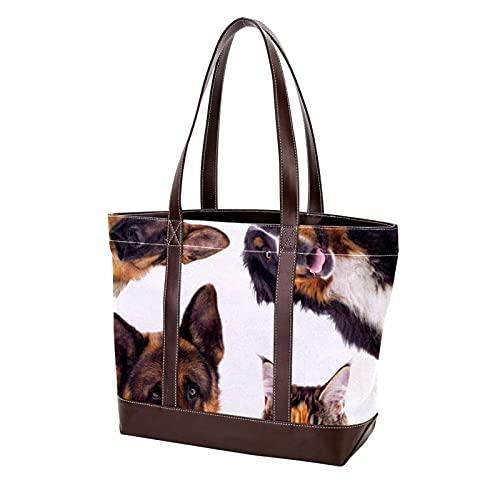NaiiaN Geldbörse Shopping Umhängetaschen Tragetasche Katze Hund und Maus für Mutter Frauen Mädchen Damen Student Leichte Riemen Handtaschen