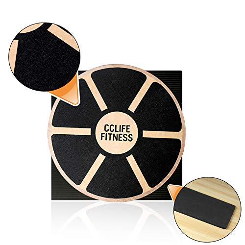 CCLIFE Balance Board 40cm Holz Wackelbrett Balance Kunststoff für Fitness Physiotherapie zur Stärkung der Tiefenmuskulatur