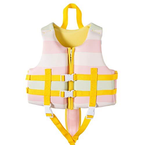 MoYoTo Asistente De Natación para Niños Chaleco Salvavidas Alta Flotabilidad para Evitar Colisiones Mantenga Abrigado El Chaleco Salvavidas para Nadar, Pescar Y Hacer Surf,Rosado,S