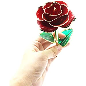 YUYIKES 8.66 Inches Romantic Love Forever in Bud Red Crystal Rose Flower, Best Gift for Valentine's Day, Mother's Day, Anniversary, Birthday Gift, Home Wedding Decoration