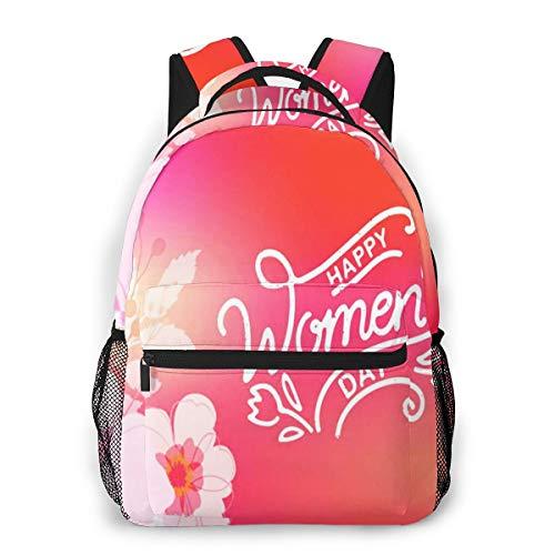 Rucksack Freizeit und Ausflüge Damen Herren Mädchen, Campus Kinderrucksack, Daypack Tagesrucksack für Schule, Sportrucksack, Tablet Tasche Frauen-glücklicher Frauen-Tag