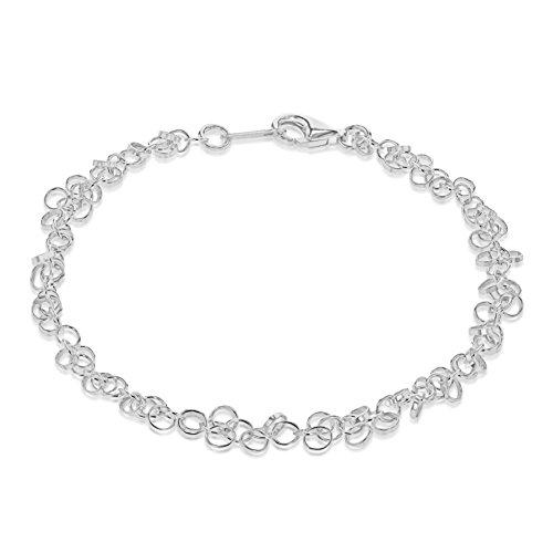 Toscane zilveren sterling zilveren dunne kleine ringen armband van 19cm/7.5