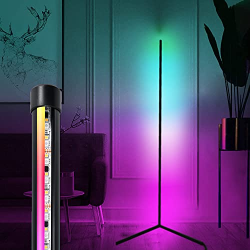 LED Corner Floor Lamp with Remote for Living Room – Color Changing Standing Atmosphere Modern Floor Lamp Dimmiable for Children's Room Decoration, 18 Watt, 156CM/61.5Inch Height