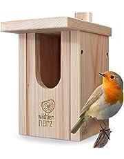 Cuore di Animali Selvatici | Nido per Pettirosso - Casetta Uccellini, Nido per Uccelli, Casetta, Nido per Uccellini, Uccelli Selvatici in Legno, da Esterno, Nido con Un Grosso Buco