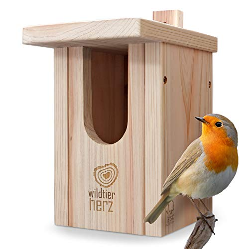 Wild animal heart | Nest box for robins made of solid wood - screwed weatherproof untreated nesting aid