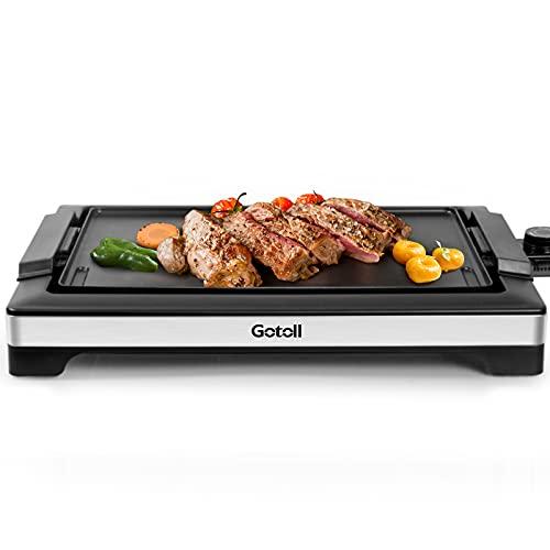 Gotoll Grill Bistecchiera Barbecue Elettrico da Tavolo, Termostato Regolabile, Vassoio...