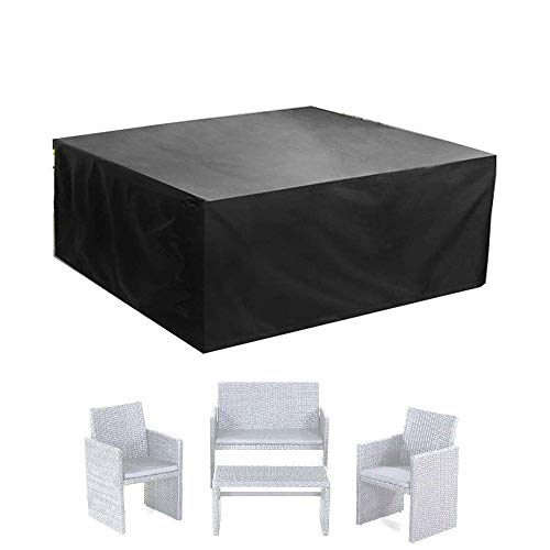 ALGWXQ Waterproof Tarpaulin Dust-Proof Tear-Resistant Outdoor Patio Furniture Cover Rectangle Table Covers, Black, Multiple Sizes (Color : Black, Size : 220x220x85cm)