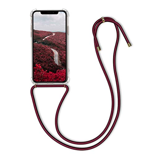 kwmobile Crossbody Case Compatible with Apple iPhone 11 Pro - Clear Transparent TPU Cell Phone Cover with Neck Cord Lanyard Strap - Transparent/Dark Red