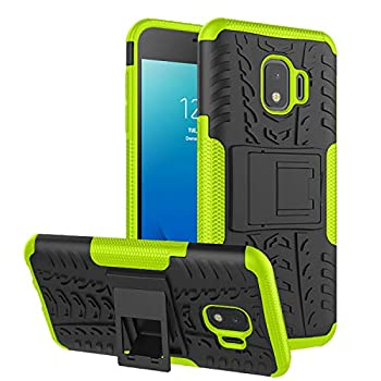 RioGree Phone Case for Samsung Galaxy J2 / Core / J2 Dash /J2 Pure Case Heavy Duty Cell Phone Shockproof with Kickstand Cover Skin TPU,Green