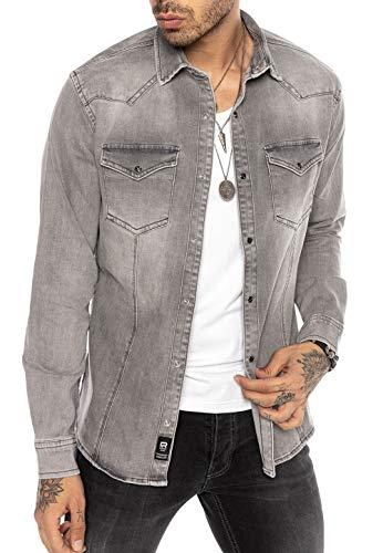 Redbridge Herren Jeanshemd Freizeithemd Premium Denim Western Grau L