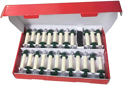 Hoolees' 24Pcs LED Christmas Flameless Candle Lights Wireless Remote Control LED Candles Christmas Tree Taper Candles Lights White Lights with Clips Powered by AAA Batteries(Ivory with Drops)