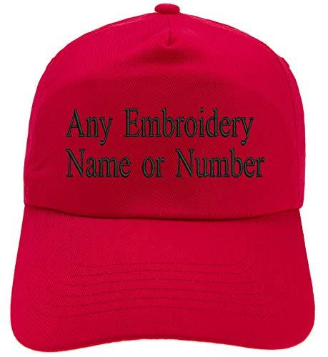 4sold Bordado Personalizado Gorra Infantil Fuente Girly Kids Sombrero Personalizado Sombrero Niños Personalizado Niños Niñas Sombreros (Red)