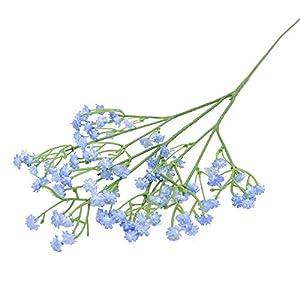 Silk Flower Arrangements MWBLN Artificial Flowers,1-5Pcs White Babys Breath Artificial Flowers Gypsophila Plastic Flowers,for Home Decorative DIY Wed Party Decoration Fake Flower 2Pcs F04-bluebabybreath