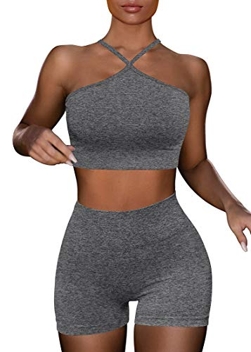 HYZ Women's Workout 2 Piece Outfits High Waist Running Shorts Seamless Gym Yoga Crop Top Bra Sets Grey