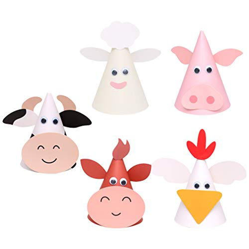 PRETYZOOM 5pcs Kids Birthday Party Hats Zodiac Ox Cow Cone Hats Farm Animals Cone Hats DIY Photo Props for Kids Children Toddlers Holiday Birthday Baby Shower Party Supplies Favors