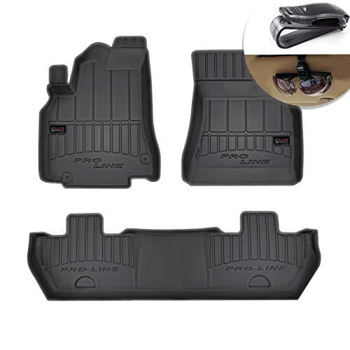 Frogum Alfombrillas de Goma 3D Alfombrillas de Coche TPE, compatibles con el Juego Citroen Berlingo II Peugeot Partner II 2008-2019, Borde Muy Alto, Juego de 3 Piezas con Sistema de Montaje Negro