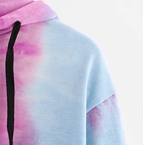 Women Hoodie TUDUZ Sale Clearance Womens Tie-Dye Printed Hooded Sweatshirt Long Sleeve Sport Short Pullover Tops Blouse(Purple,L=UK(12))