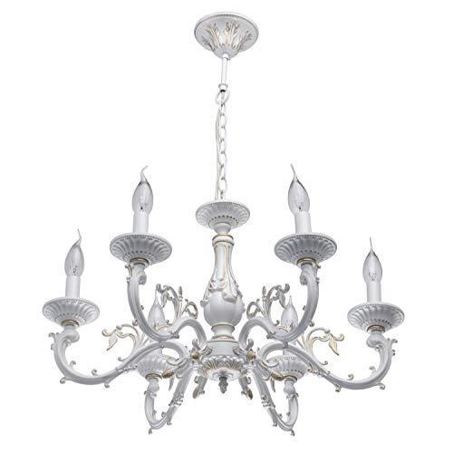 MW-Light 371011206 Kerzen Shabby Chic Kronleuchter 6 Flammig Weiß Klassisch Wohnzimmer