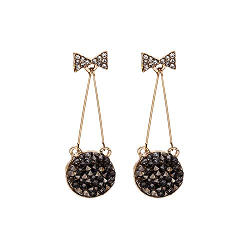 金桥Pendientes de botón de lazo de aguja de plata 925 redondo cristal negro diamante completo