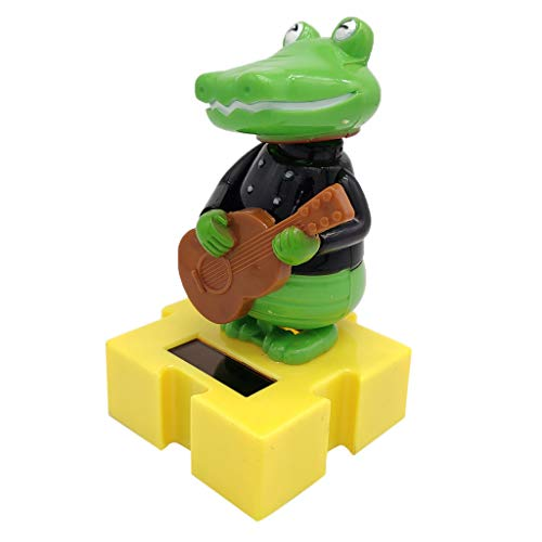 Solar Powered Bobbing Guitar Crocodile Animal Figure - Fun Solar Science Toy Home Desktop Car Decor Bobbleheads Animal Pet Model