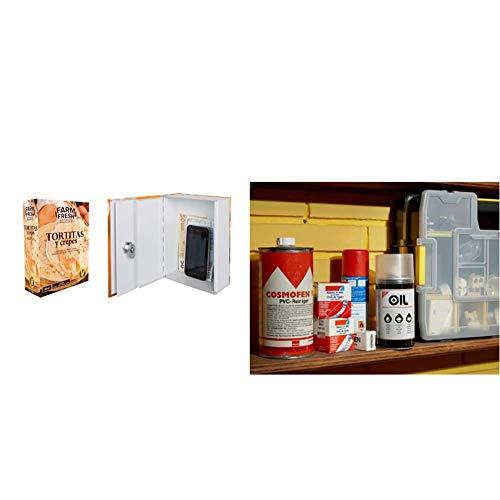 Arregui C9371 Caja De Caudales Camuflada Como Envase De Alimento, Multicolor, 137 X 188 X 68 Mm + C9362 Caja de Caudales de Acero Camuflada, Multicolor, 154 x 222 x 44 mm