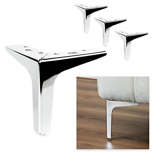 P17 Modelo Siena | Juego de 4 patas + 16 tornillos | Cromo pulido | Altura 15 cm | Patas para sofás, muebles, armarios, sillones | Patas de metal para muebles de diseño moderno y elegante |