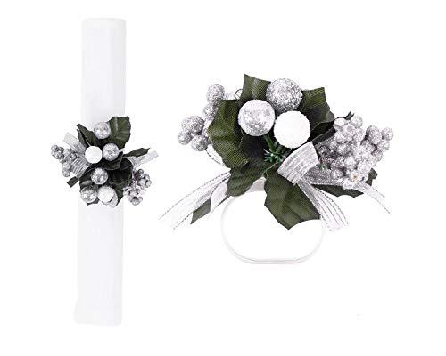 YöL 6 x Napkin Rings Set Floral Traditional Leaves Christmas Festive Decorative Silver Xmas Party Wedding Tableware Napkin Holder