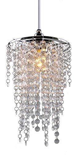 Kristall-Lampenschirm, 3 Etagen, modern, Chrom, Kronleuchter, Deckenleuchte, Lampenschirme, Kristall-Acryl mit klaren achteckigen Perlen, Chromrahmen und klaren Perlen, PS05CLR