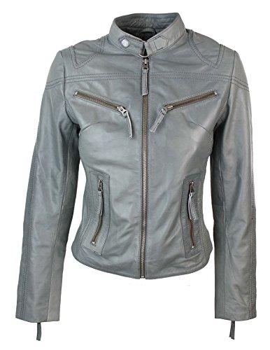 Damenjacke 100% Echtleder Grau Kurz Eng Tailiert Biker Stil