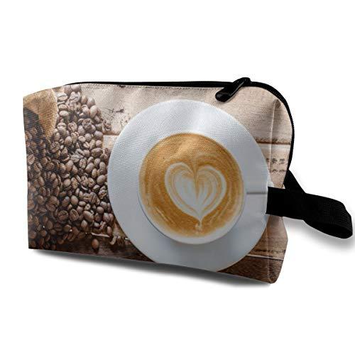 Trousse à maquillage pour femmes, café Latte avec étui à crayons en grains de café