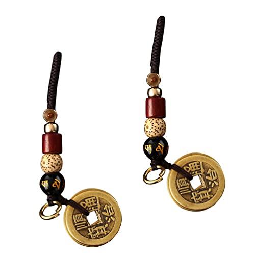 STOBOK Feng Shui Moeda Chaveiro 2Pcs Titular Chaveiro Chave Anel Chave de Feng Shui Decoração Ornamentos Cabaça Presente para O Bom Sorte Fortuna Carros