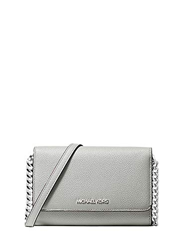 Brand New with Tags attached Style: Michael Kors Jet Set Medium Multifunction Phone Crossbody Handbag (Aluminum) Material: Saffiano Leather Features: 8 Card Slots, 2 Bill Slots, Inner Pockets & Dividers, Chain Accented Adjustable Strap, Rear Outer Ph...