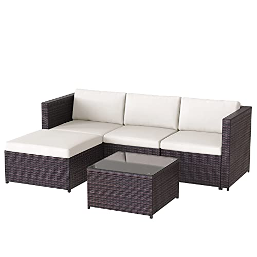 BFYDOAA Rattan Garden Furniture Set,Outdoor Patio Conservatory Corner Sofa Set Rattan Dining Set with Coffee Table, All-Weather Rattan Chair for Yard,Pool Or Backyard