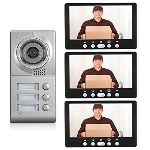 Timbre de video, intercomunicador, sistema de entrada con cable, videoportero de 7 pulgadas para seguridad en el hogar, cámara de visión nocturna por infrarrojos