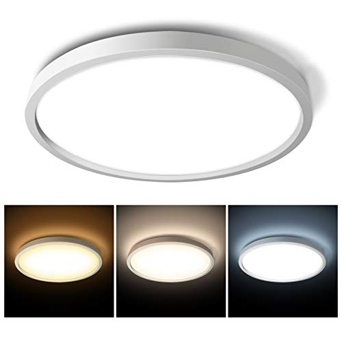 Hidixon 15W LED Deckenleuchte, Φ30 * H2.4cm 2100LM LED Deckenlampe Runde Lichtfarbe Einstellbar 3000K/4000K/6500K für Badezimmer Schlafzimmer Küche Balkon Korridor Esszimmer [Energieklasse A++]