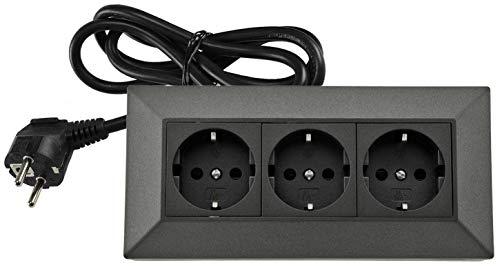 3-fach Steckdosenblock Eck-Steckdose mit 1,5m Kabel 230V Aufbau & Eck-Montage für Arbeitsplatte Küche Werkstatt Anthrazit