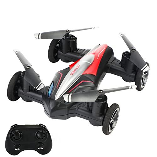 KUOPE RC Mini Drone, 2 in 1 360 ° Flips Rolls Droni per cielo e terra, 2.4 G Quadcopter Droni con una pressione Trasformare liberamente per Bambini Regali, Rosso, due batterie