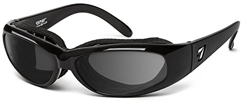 7eye by Panoptx | Chubasco | Wind Blocking Sunglasses - Gray Lenses + ANSI Z87 Sports Cycling Motorcycle Outdoors Driving Eyewear