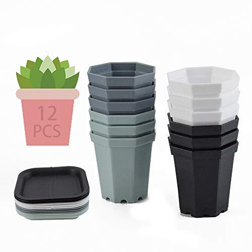 12PCS Maceta de Plástico Octogonal,Maceta de Plástico con Bandejas,Macetas Suculentas Plástico,Macetas Pequeñas Plastico,Macetas Mini Plastico