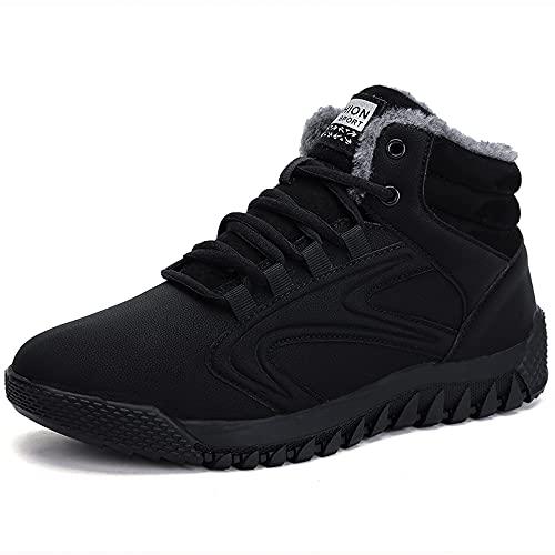 Drecage Damskie buty zimowe z ciepłą podszewką, buty zimowe z zapięciem na rzepy, wodoszczelne buty trekkingowe, czarny - czarny 02 - 37 eu